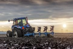 Preparing land for sowing stock image