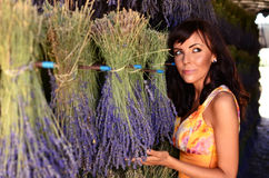 Woman preparing lavender bouquets Stock Photography