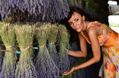 Woman preparing lavender bouquets royalty free stock image