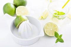 Preparing lime mojito lemonade Stock Photography