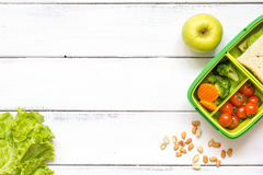 Preparing lunch for child school top view on wooden background Stock Photos
