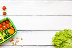 Preparing lunch for child school top view on wooden background royalty free stock images