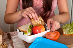 Preparing a lunchbox Royalty Free Stock Photo