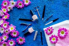 Preparing for manicure. Tools and nail polishes on blue background top view copyspace Stock Photo