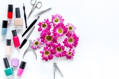 Preparing for manicure. Tools and nail polishes on white background top view copyspace Royalty Free Stock Photo