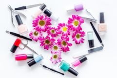 Preparing for manicure. Tools and nail polishes on white background top view Stock Image