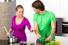 Preparing meal together Royalty Free Stock Photography