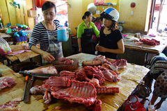 Preparing meat in Hoi An Stock Photo