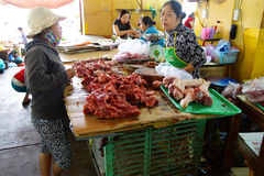 Preparing meat in Hoi An Stock Images