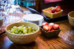 Preparing for a midday fruit brunch. Stock Photos