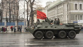 Preparing a military parade in Moscow. stock photo