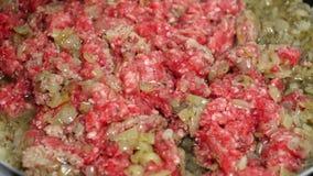 Preparing Minced Meat Gravy Sauce On A Teflon Pan stock video