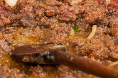 Preparing minced meat for stuffing paprika Royalty Free Stock Image