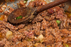 Preparing minced meat for stuffing paprika Royalty Free Stock Photos