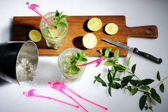 Preparing mojito cocktails Royalty Free Stock Photography