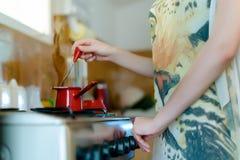 Preparing the morning coffee Stock Photos