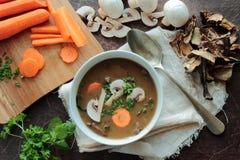 Preparing of mushroom soup Stock Image
