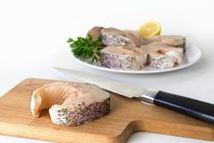 Preparing northern pike steaks, fresh raw fish piece and knife o. N a cutting board, finished steaks on a plate blurry in the bright background, selected focus Stock Photography