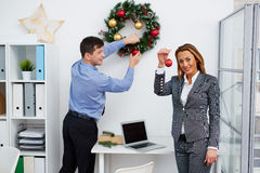 Preparing office for Christmas Stock Images