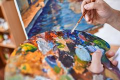 Preparing oilpaints Royalty Free Stock Images