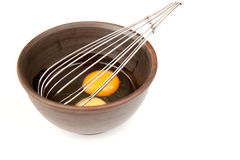 Preparing omelet. Tow eggs for omelet in ceramic bowl Royalty Free Stock Photography