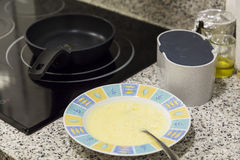 Preparing an omelette on a domestic kitchen Stock Photography