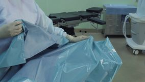 Preparing an operating room. stock video footage