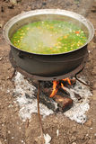Preparing outside. Fish soup on fire outside stock photo