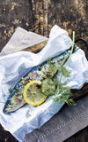 Preparing an oven baked fish in foil Royalty Free Stock Photography
