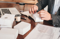 Preparing packages for shipping royalty free stock photography