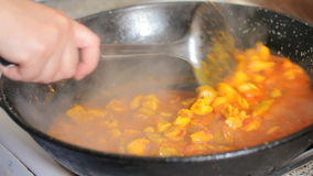 Preparing paella. Spanish traditional food. stock video footage