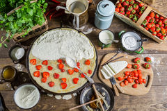 Preparing for pancakes with strawberry Royalty Free Stock Image