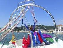 Preparing the parasail parachute Royalty Free Stock Photo