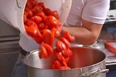 Preparing passata sauce. Stock Images