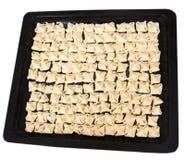 Preparing pasta ravioli meat pastry in pan Stock Images