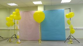 Preparing for a photo-vido shooting. Design Studio with balloons.  stock footage