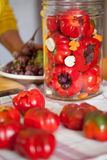 Preparing Pickled Grape Filled Peppers Royalty Free Stock Photo