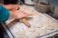 Preparing polish dumplings called pierogi Royalty Free Stock Photo
