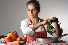 Preparing a potage Stock Photo