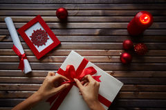 Preparing present for holiday Stock Photography