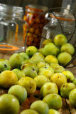 Preparing preserved plums Stock Photo