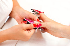 Preparing process for artificial nails Royalty Free Stock Photos