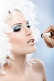 Preparing professional winter makeup Royalty Free Stock Image