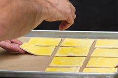 Preparing puff pastry Stock Photo
