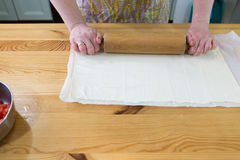 Preparing puff pastry. Royalty Free Stock Photo