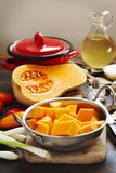 Preparing pumpkin, onions and sweet peppers for cooking Royalty Free Stock Image