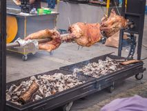 Preparing a ram on a spit. On the street Royalty Free Stock Images
