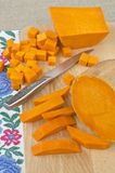 Preparing raw pumpkin for cooking Stock Photos