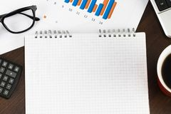 Preparing report. Blue graphs and charts. Business reports and p Royalty Free Stock Image