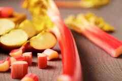 Preparing rhubarb and apple dessert or pie Royalty Free Stock Photography